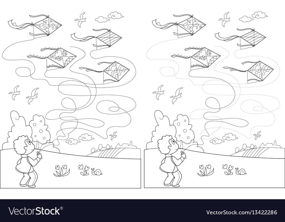 Child with kite solved maze game vector image