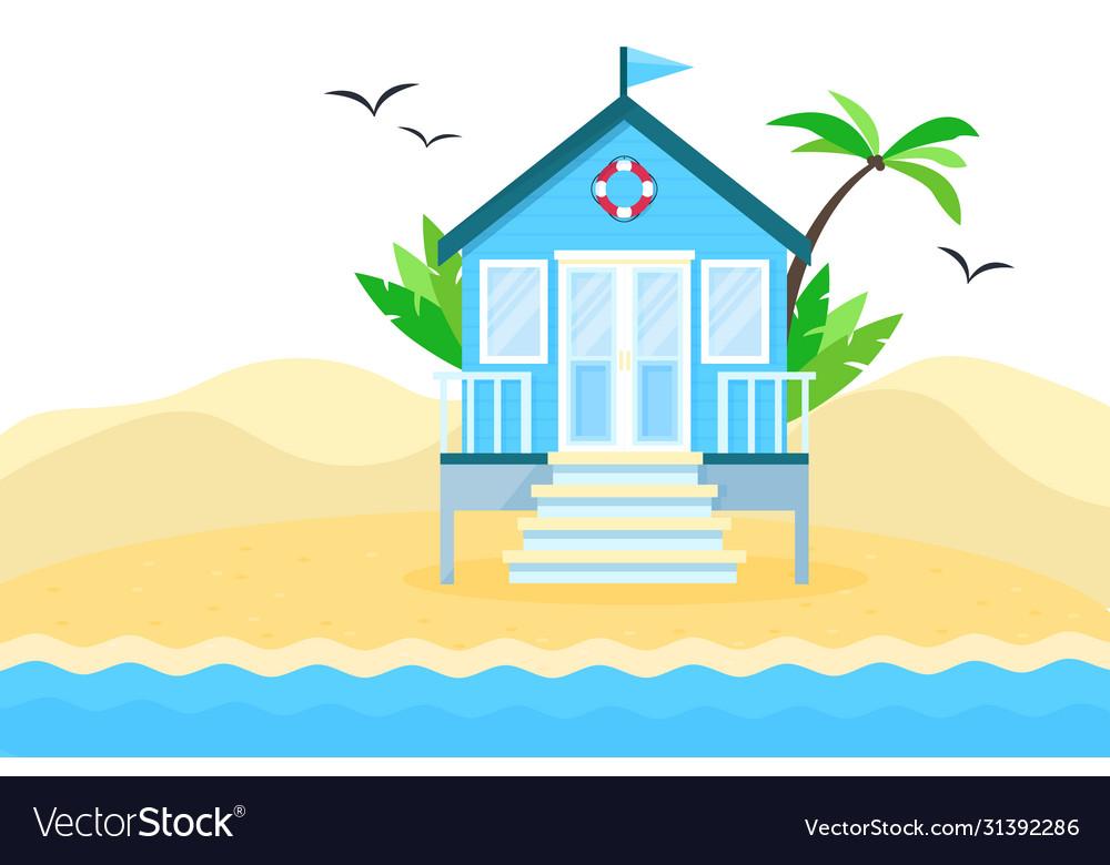 Flat tropical beach hut on