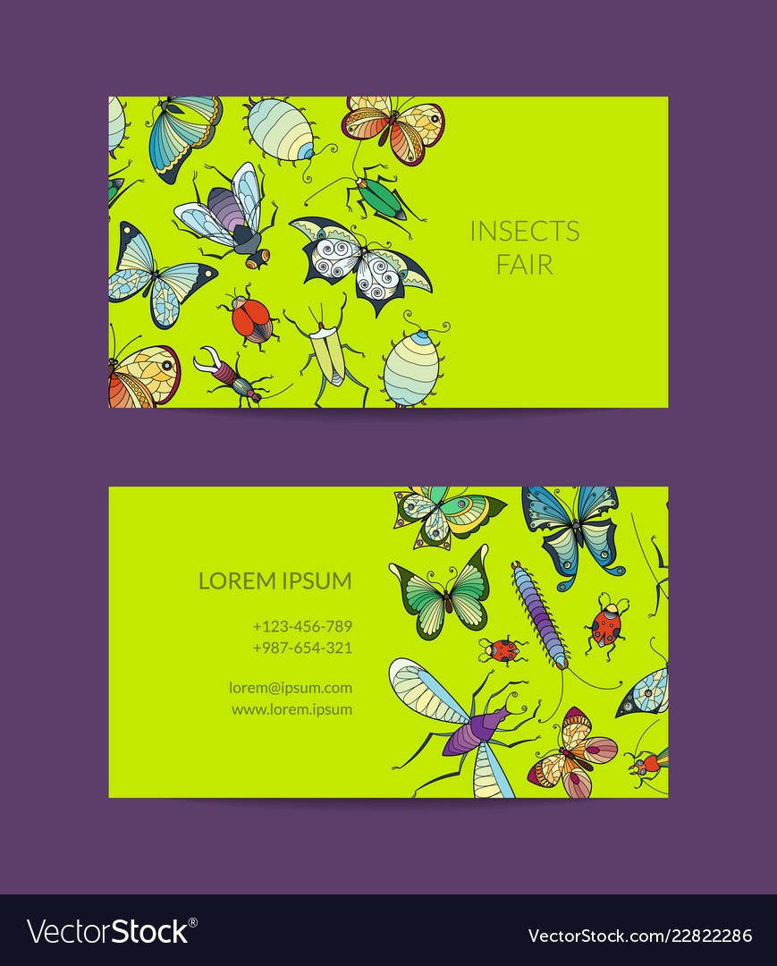 Hand drawn insects business card isolated