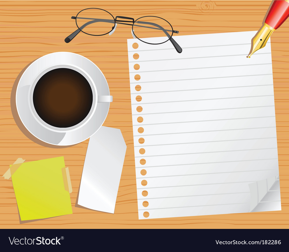 Page and desk vector image