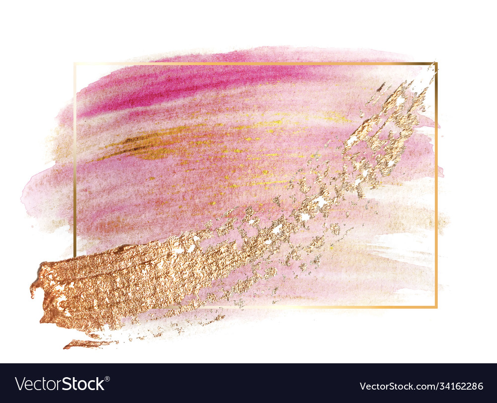 Pastel rose and pink brush paint strokes and gold