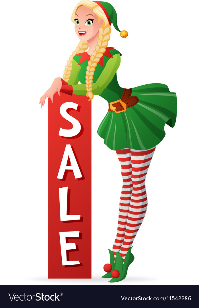 Christmas Elf Costume.Pretty Girl In Christmas Elf Costume Sale Banner