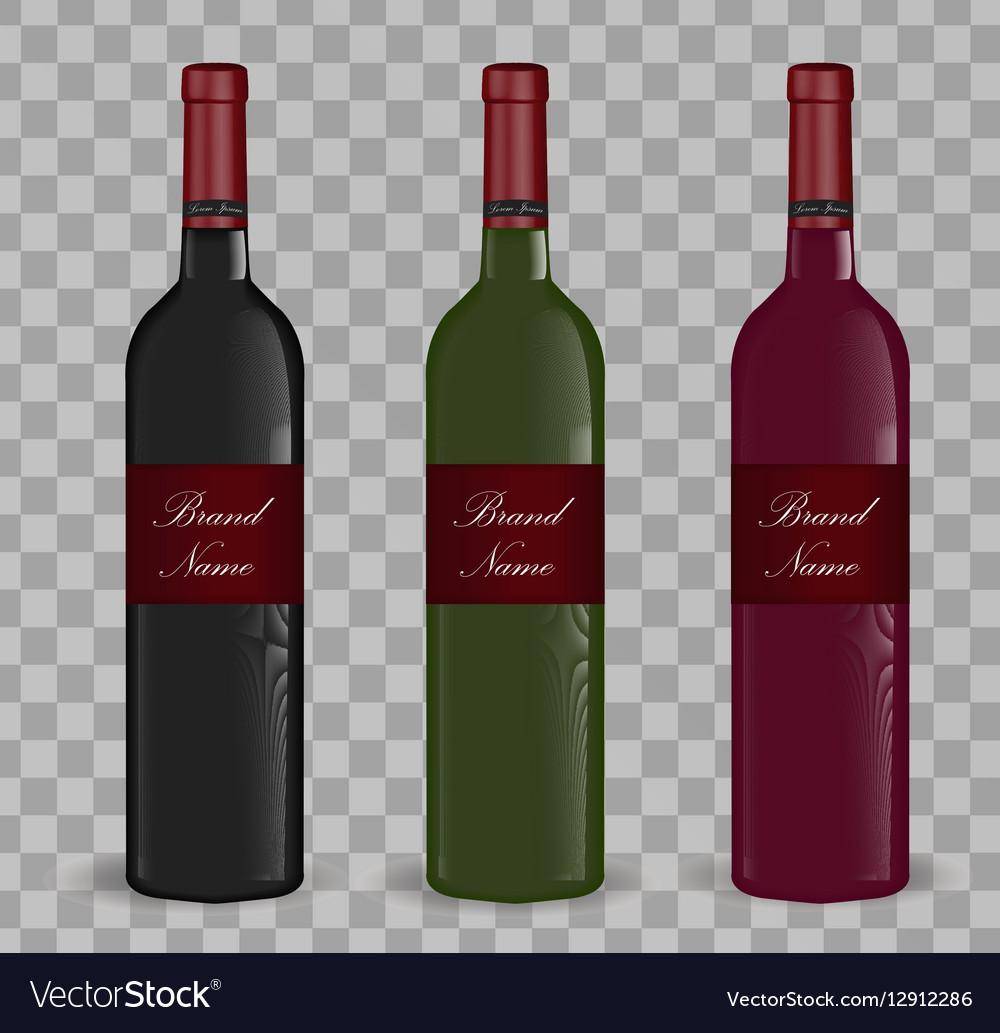 Realistic wine bottle set Isolated on white