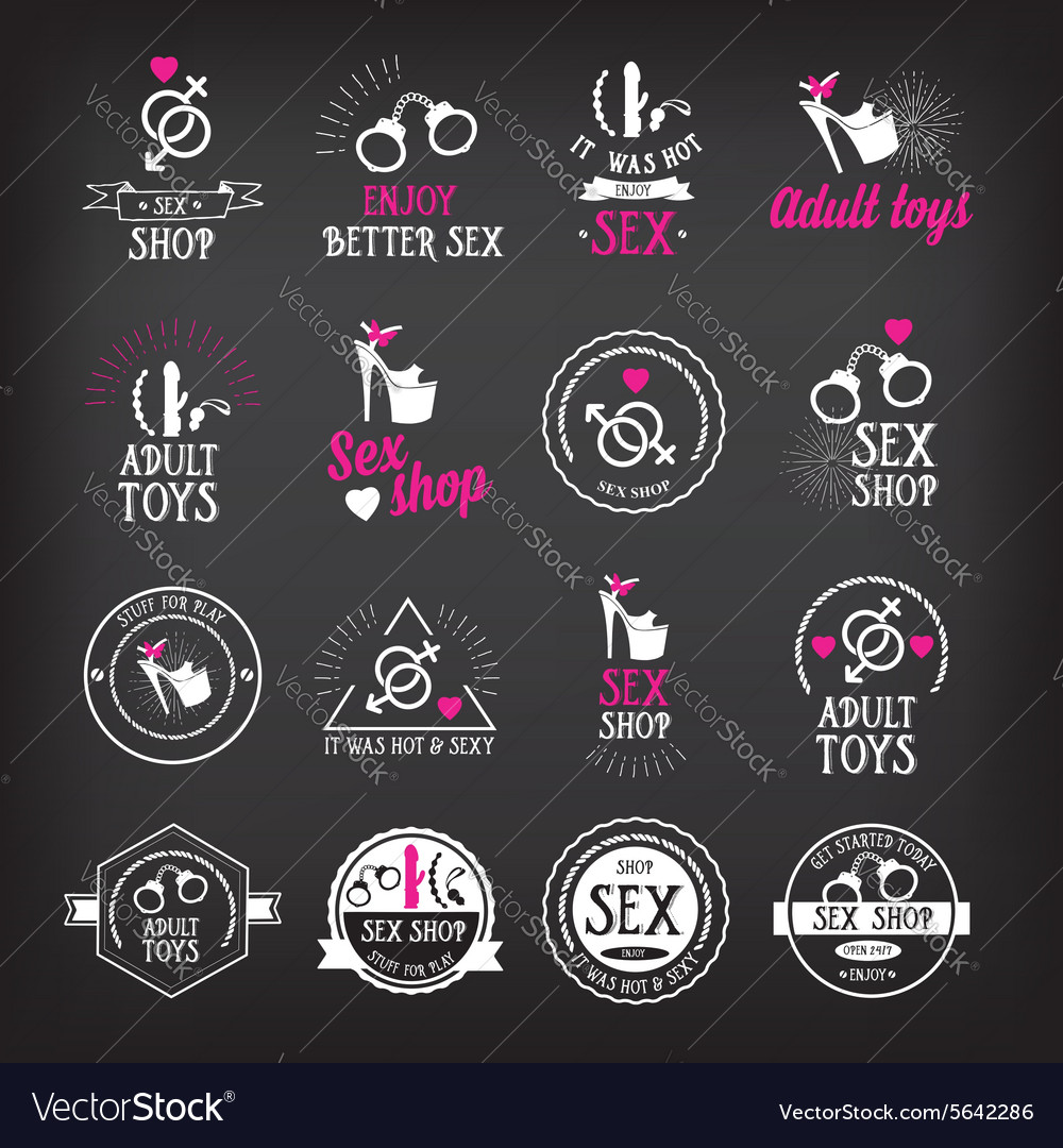 Sex shop logo and badge design
