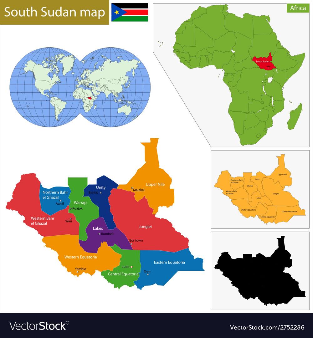 South Sudan map Royalty Free Vector Image - VectorStock