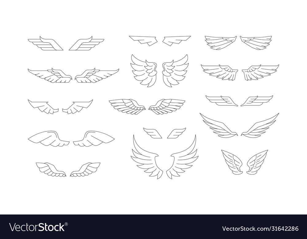 Stock set wings silhouettes