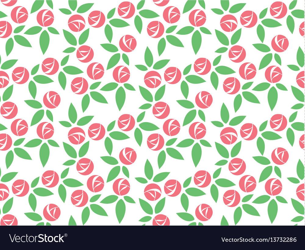 Stylized pink rose seamless pattern