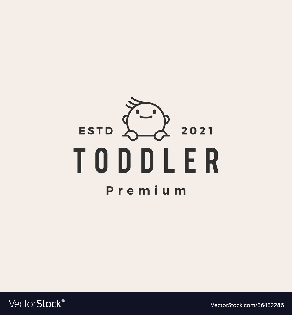 Toddler baby outline hipster vintage logo icon