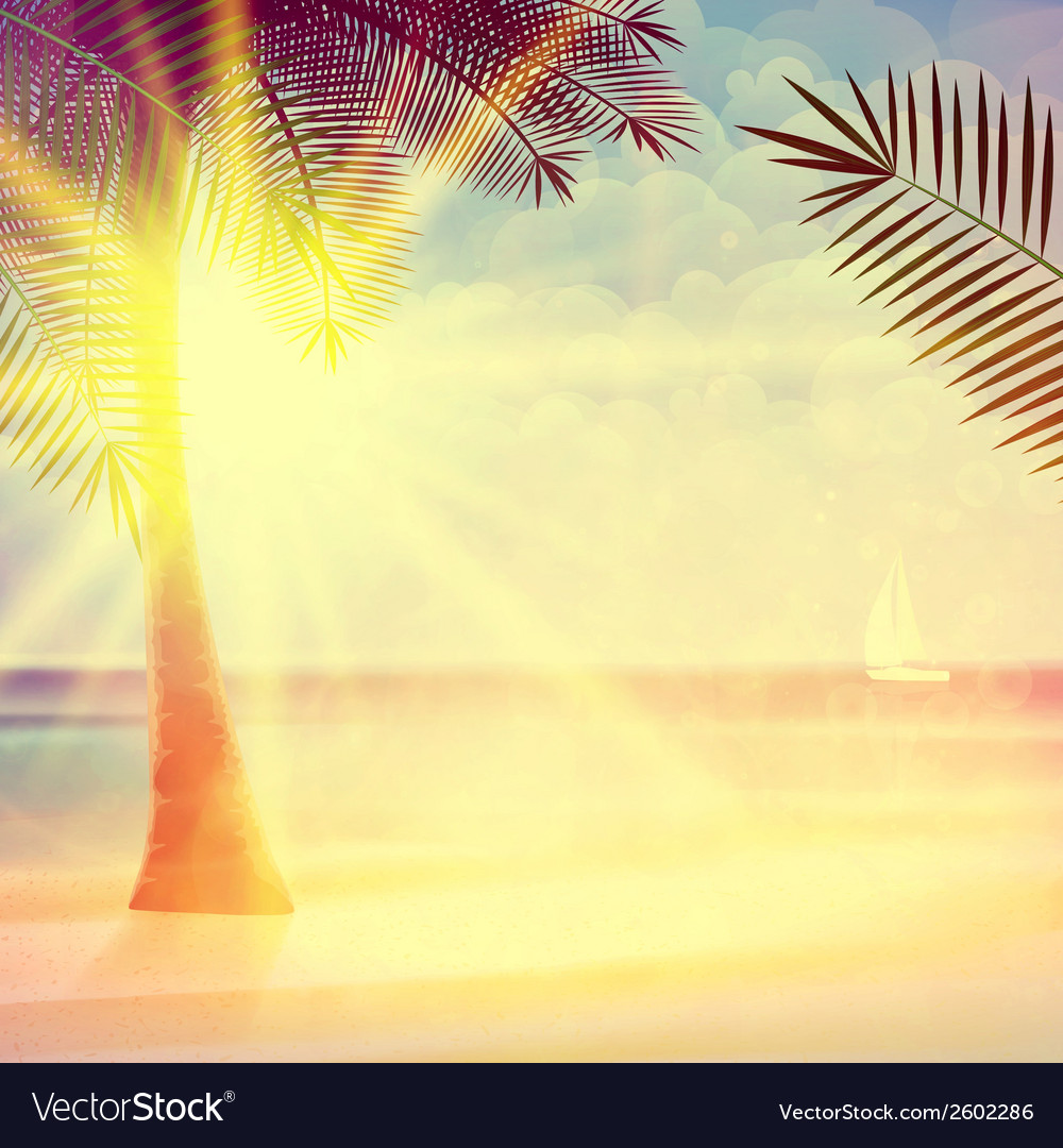 Vintage poster of tropical beach