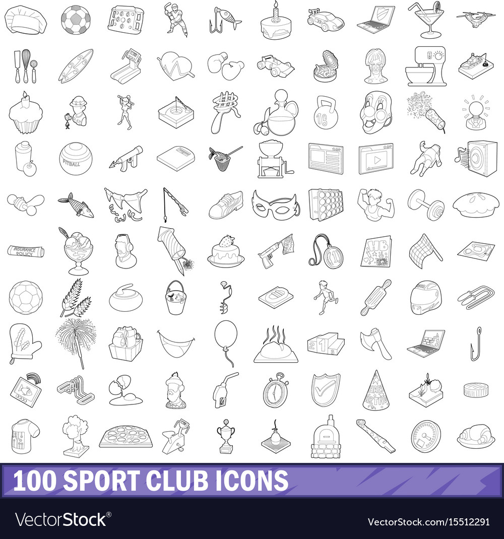 100 sport club icons set outline style