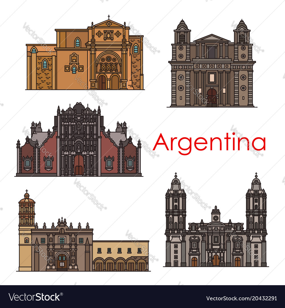 Argentina landmarks buildings line icons