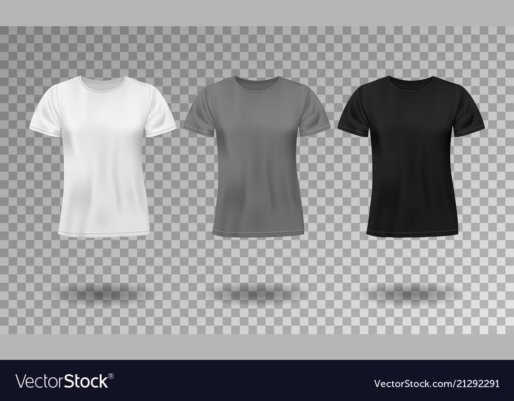 Black white and gray realistic male t-shirt