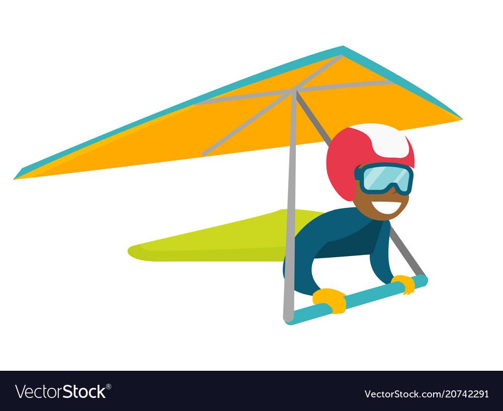 Black woman flying on hang-glider vector image