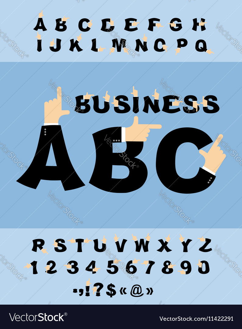 Business Hand font Pointing finger alphabet