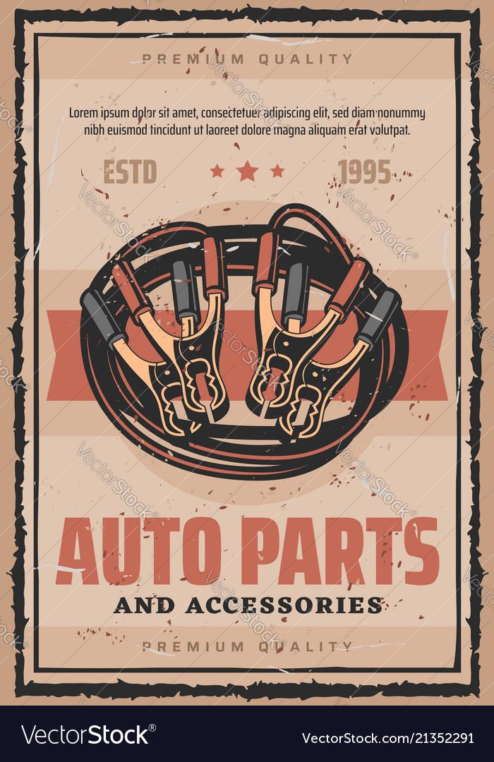 Car Service Auto Parts Repair Retro Poster Vector Image
