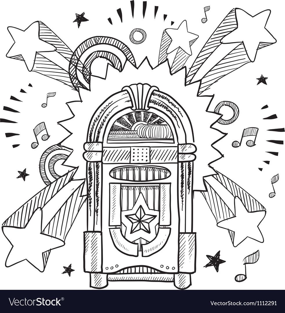 Doodle pop jukebox music vector image