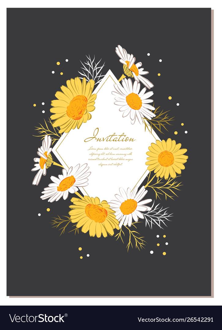 Flower card chamomile background daisy wreath