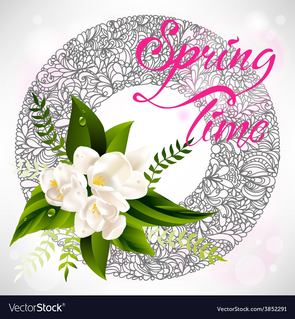 Fresh spring background with white flowers and vector image mightylinksfo