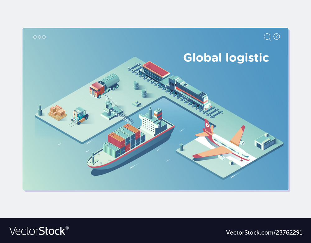 Global logistic isometric vehicle infographic