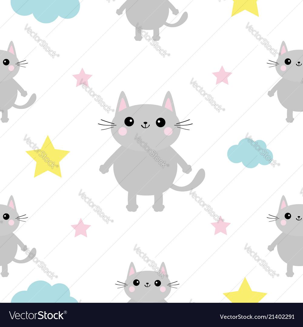 Gray cat head hands cloud star shape cute cartoon