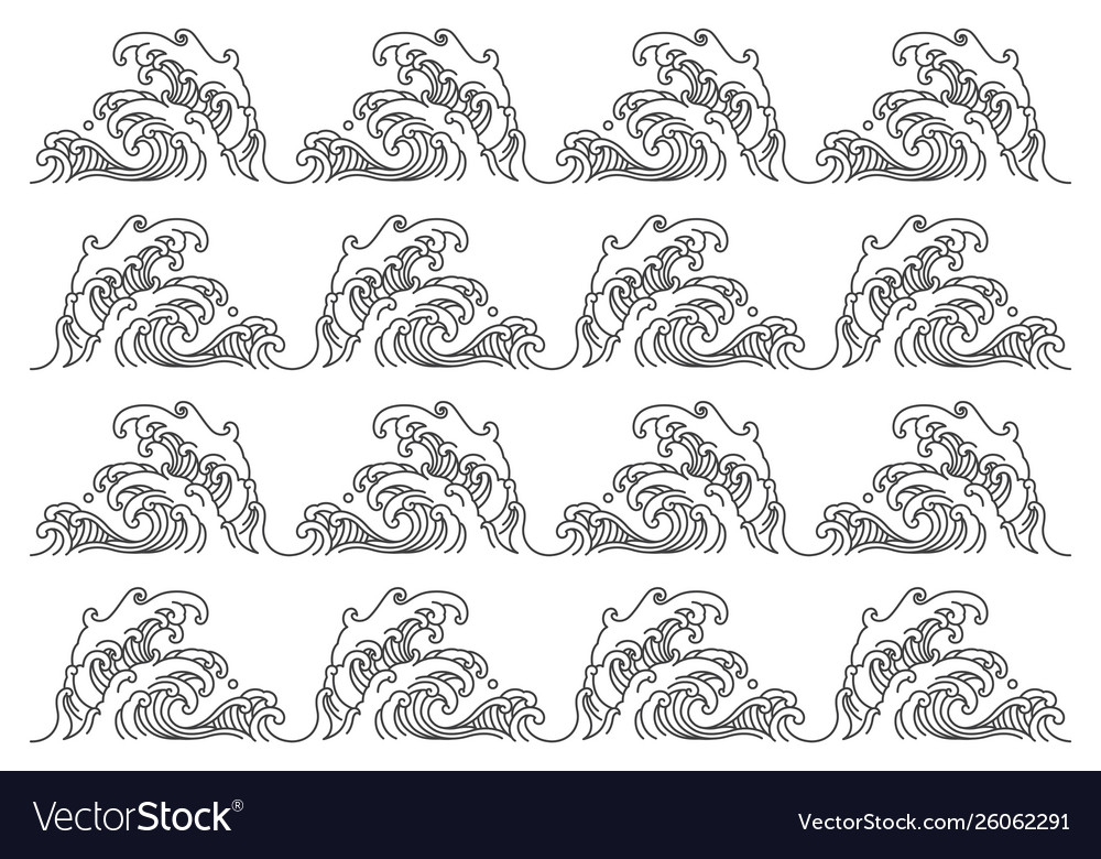 Great sea wave pattern isolated on white