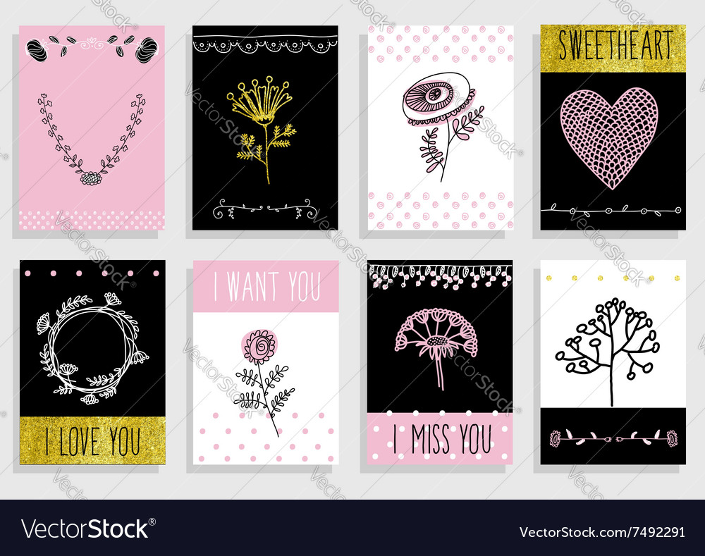 Set of template design for greeting card