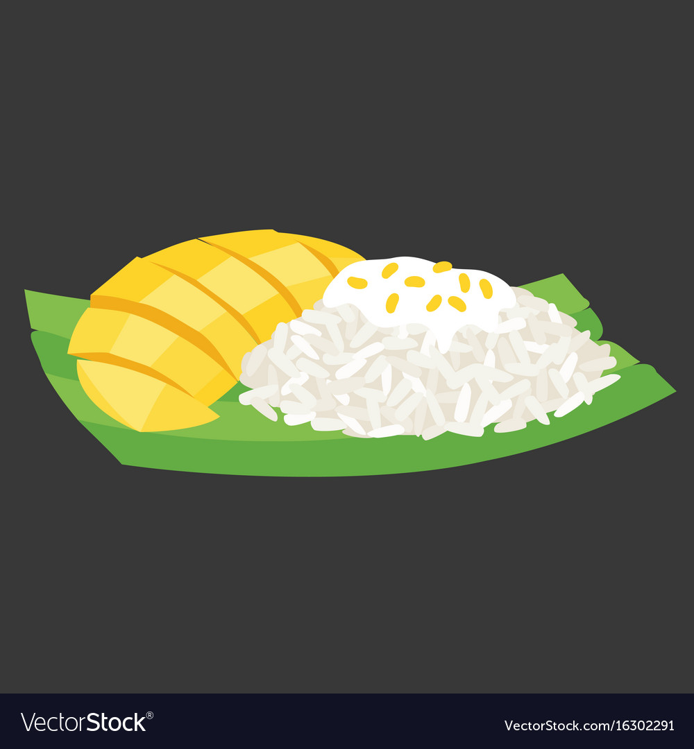 Sticky rice with mango on banana leaf