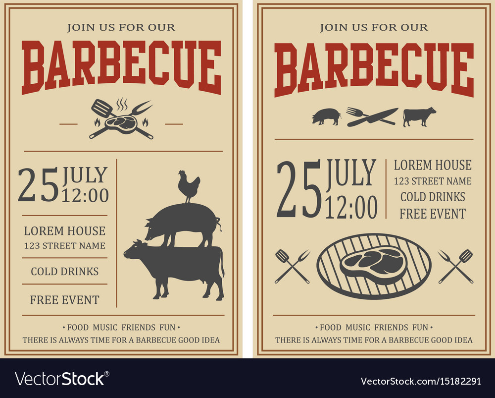 Vintage barbecue party invitation bbq food flyer