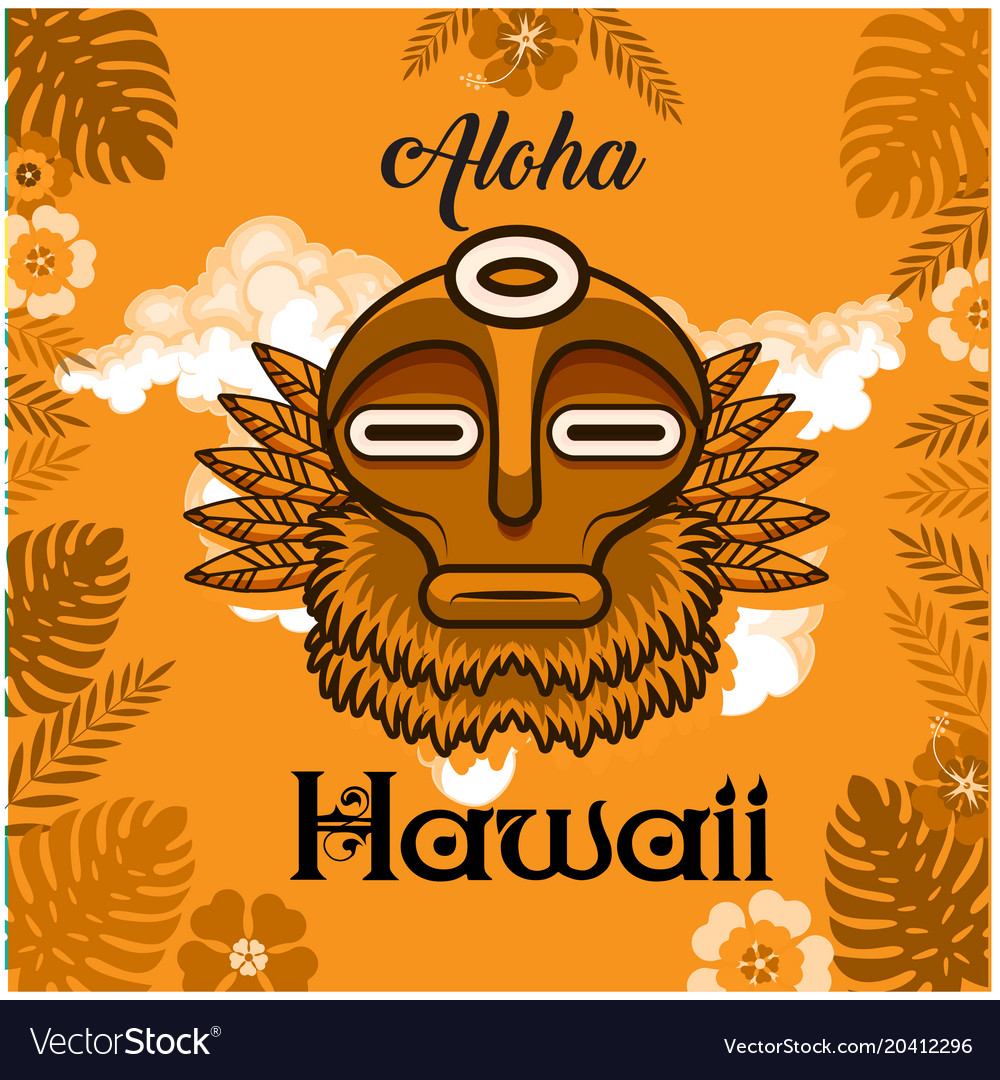 Aloha Hawaii Tribal Mask Leaves Background Vector Image
