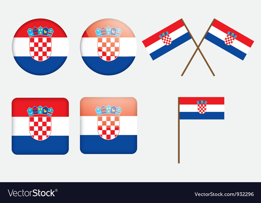 Badges With Flag Of Croatia Royalty Free Vector Image