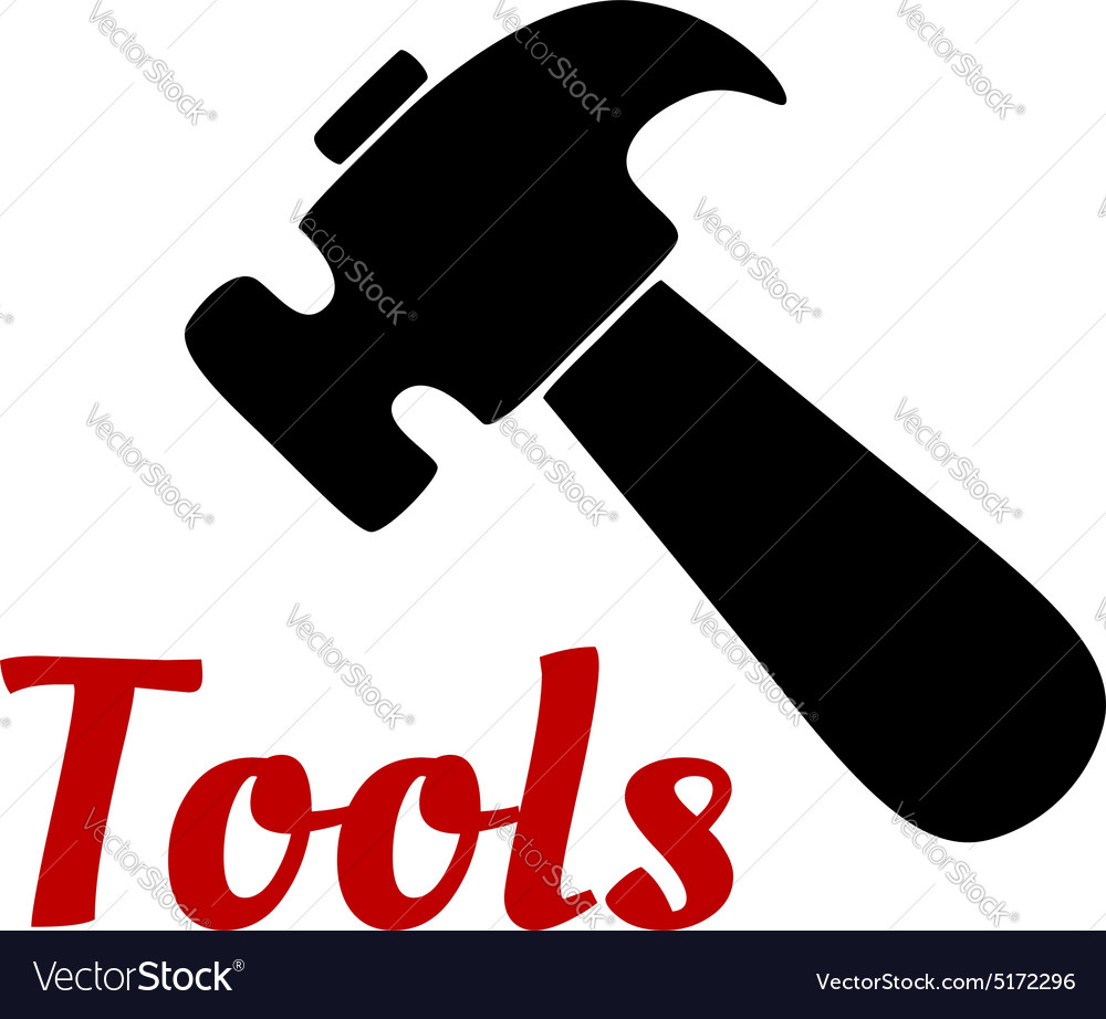 Claw hammer hand tool black icon