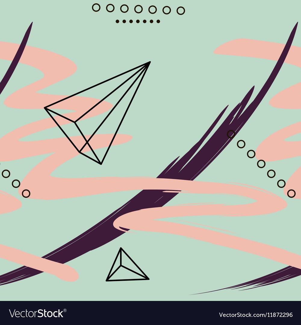 Contemporary geometric elements memphis card vector image