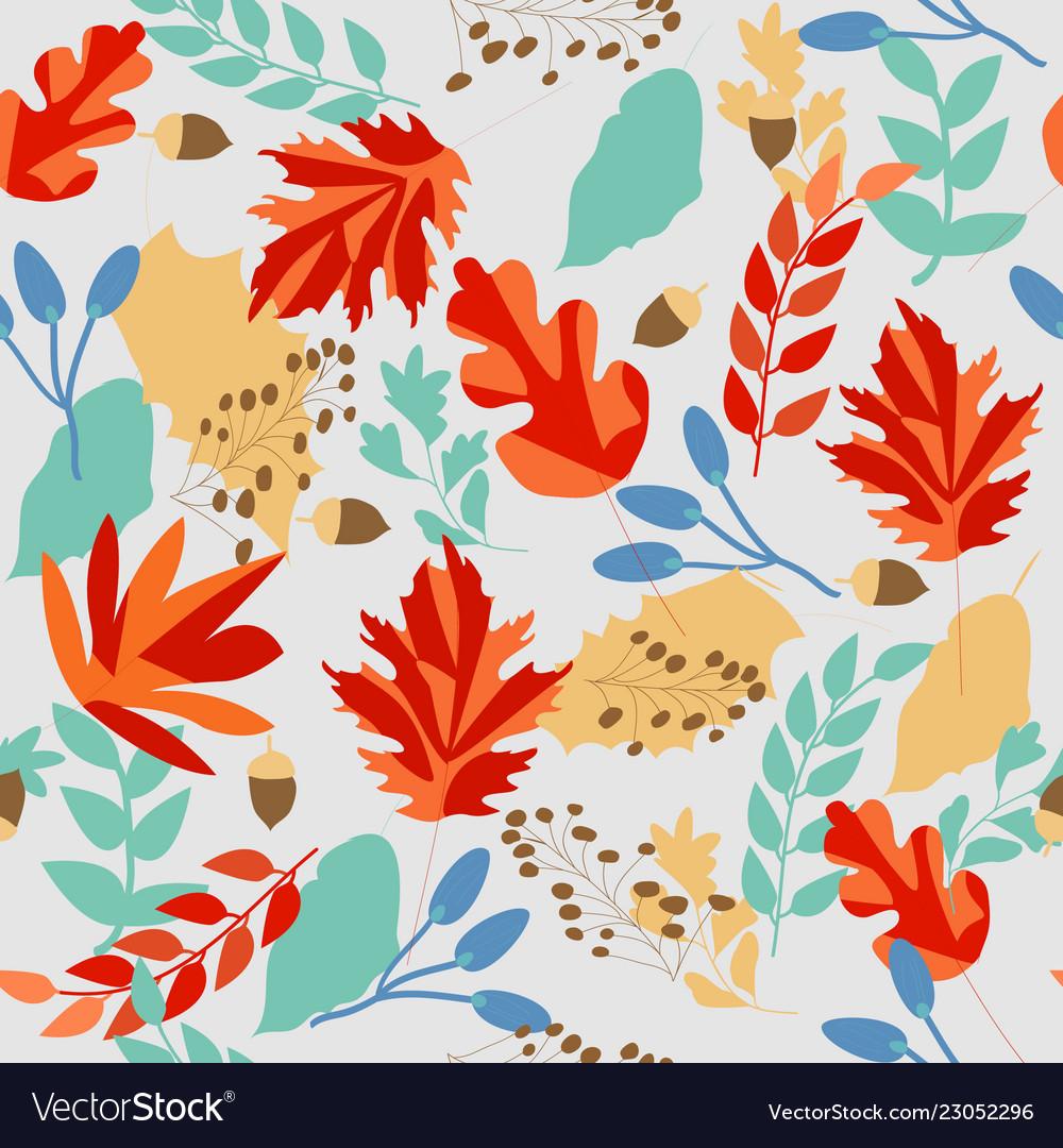 Cute sweet autumn leave seamless pattern