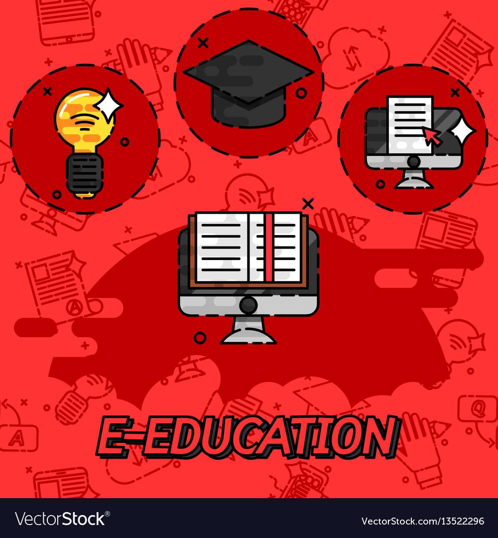 E-education flat concept icons