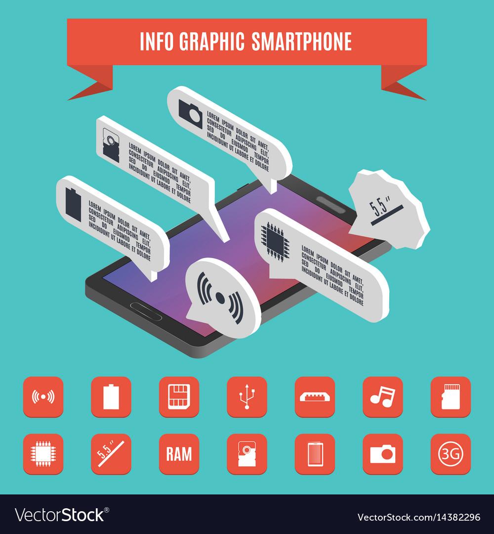 Elements of infographics smartphone isometric