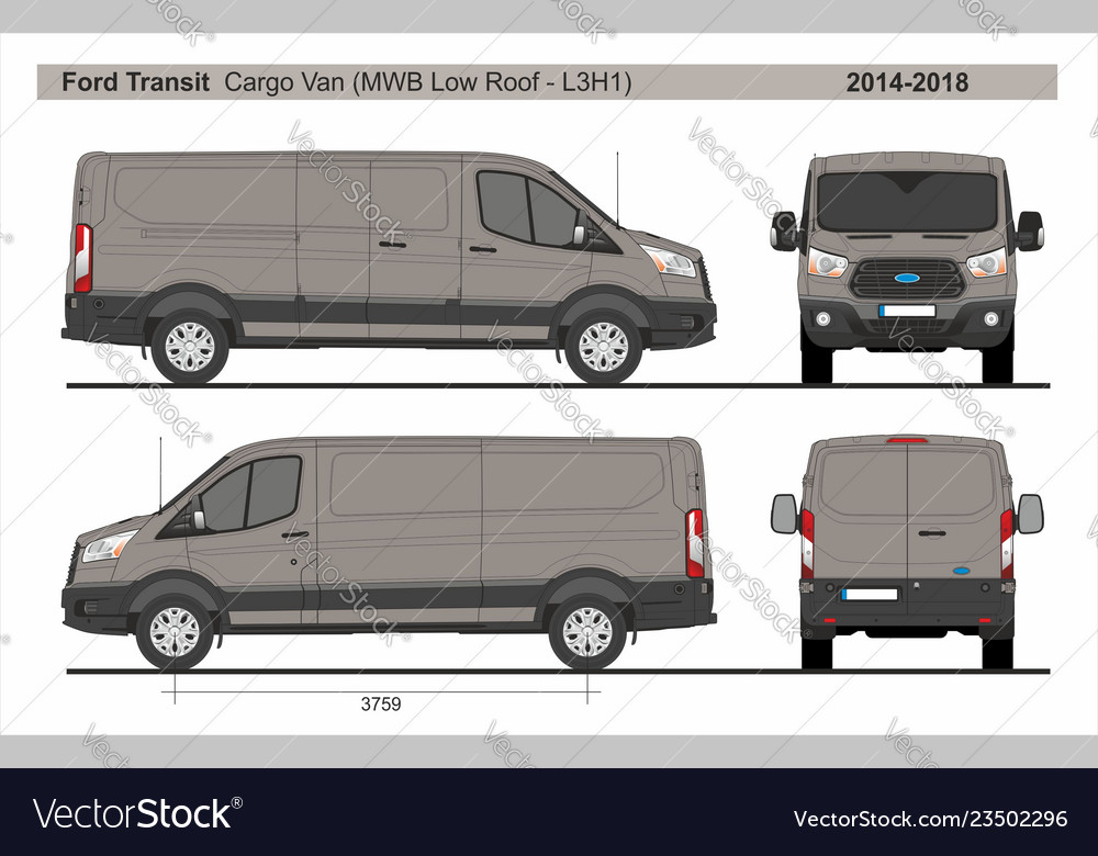 d3e8c0aee3 Ford transit cargo delivery van mwb l3h1 2014-2018 vector image