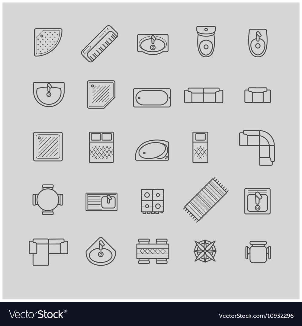 Furniture Icons Top View Vector Image