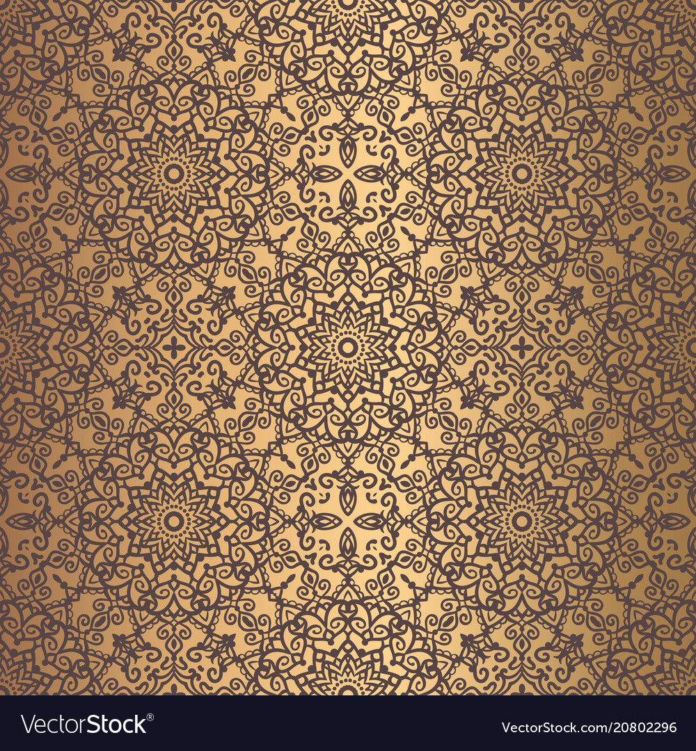 Golden arabesque pattern vector image