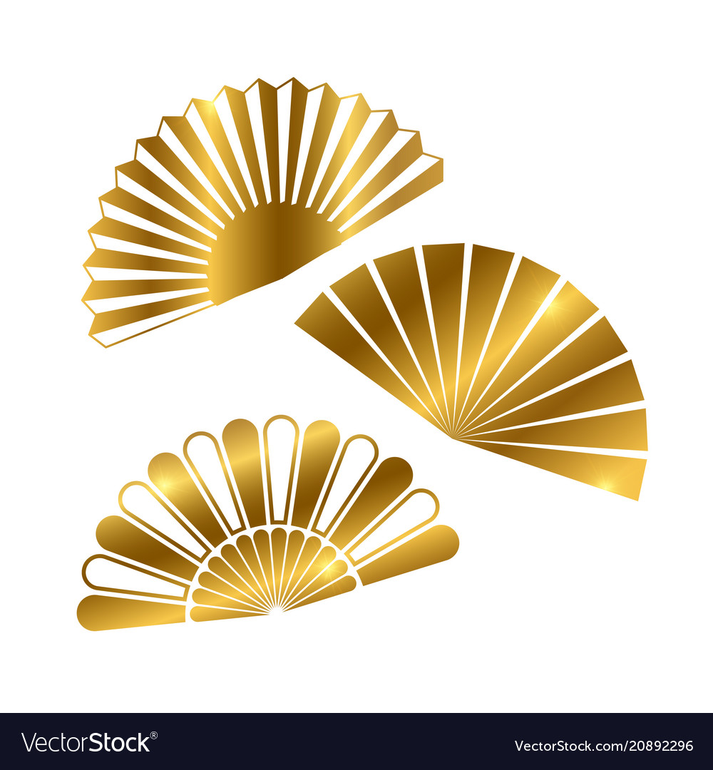 Golden hand fan isolated on white background
