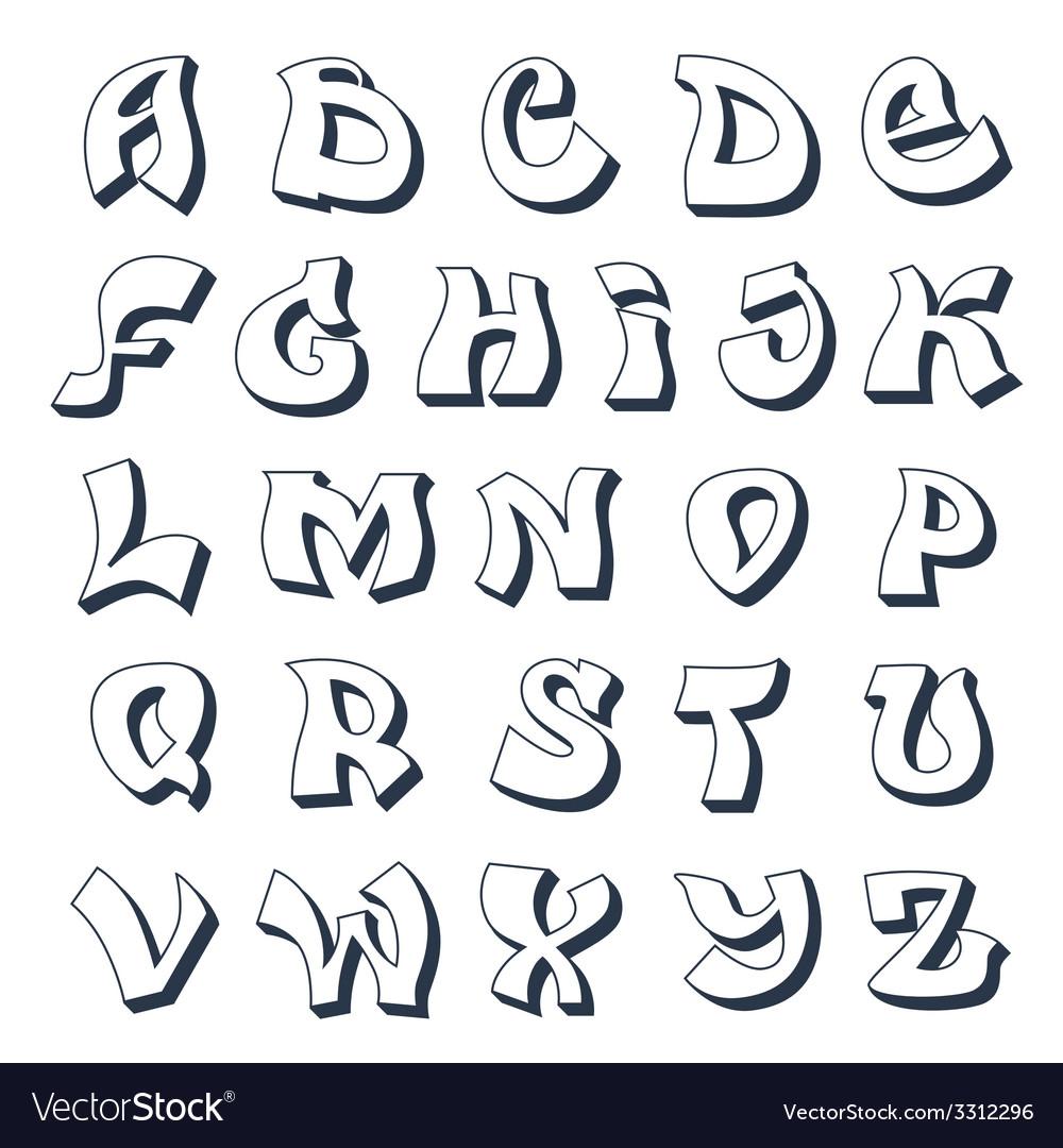 Graffiti alphabet white vector image