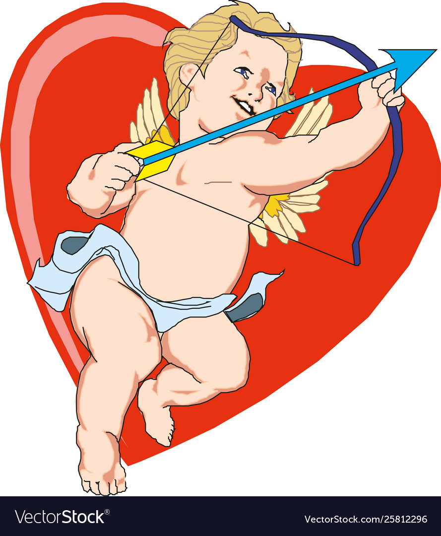 Heart with cupid inside valentine s day