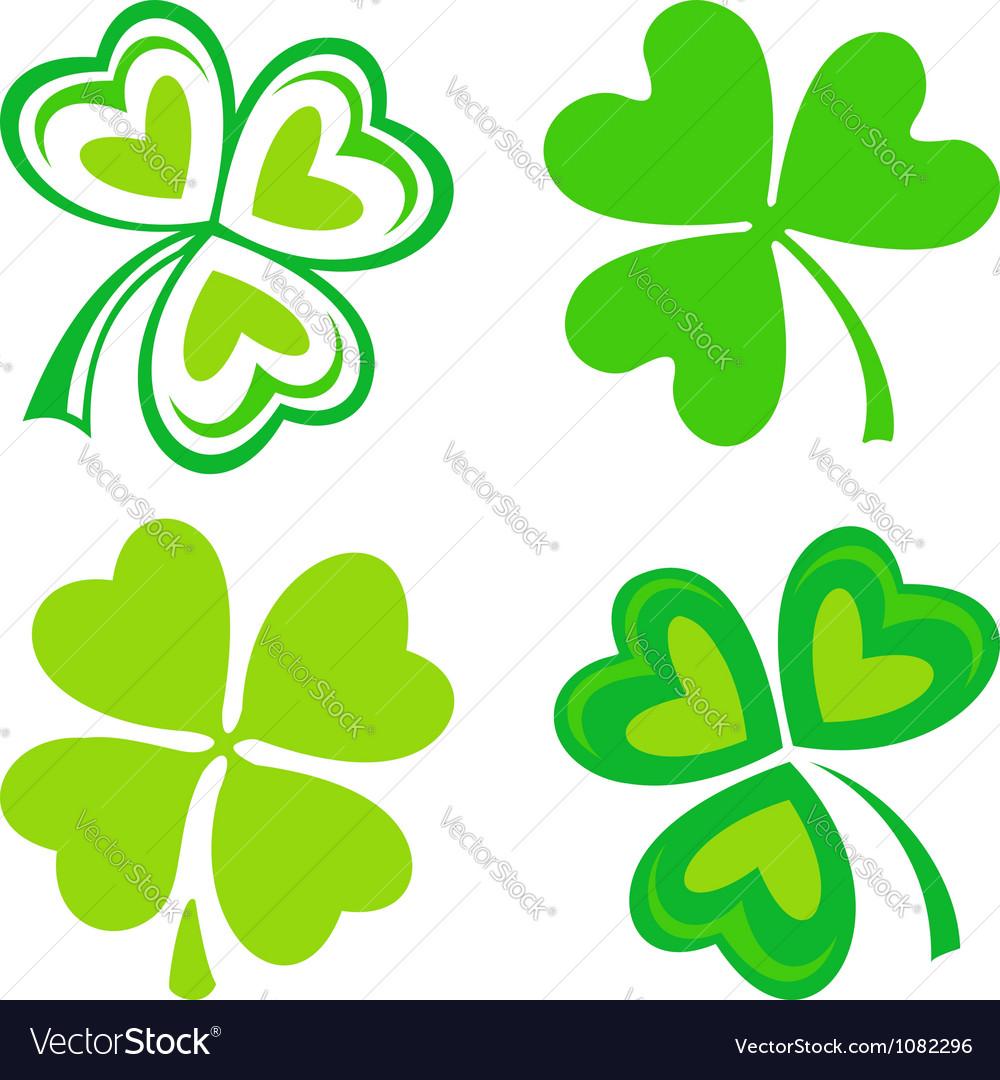 Isolated green Irish shamrocks