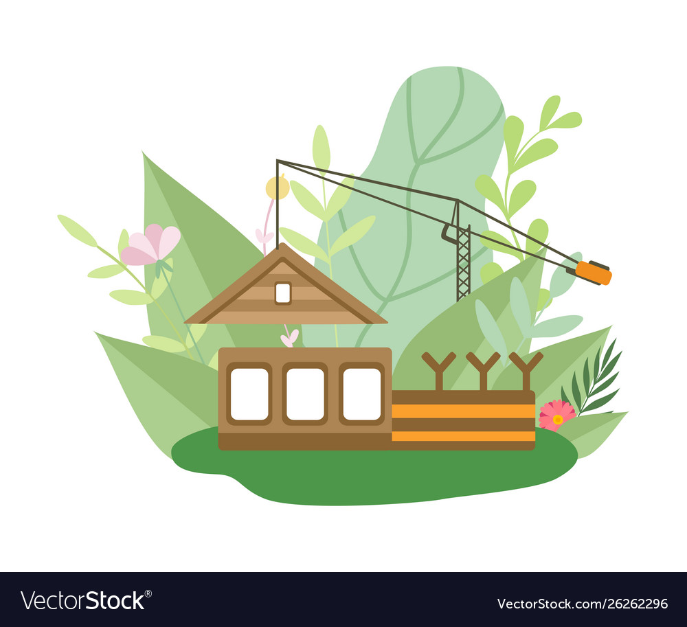 Process building wooden house small cottage