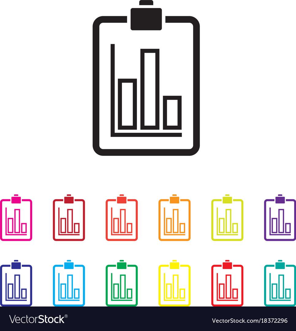 Sales report graph chart colourful set