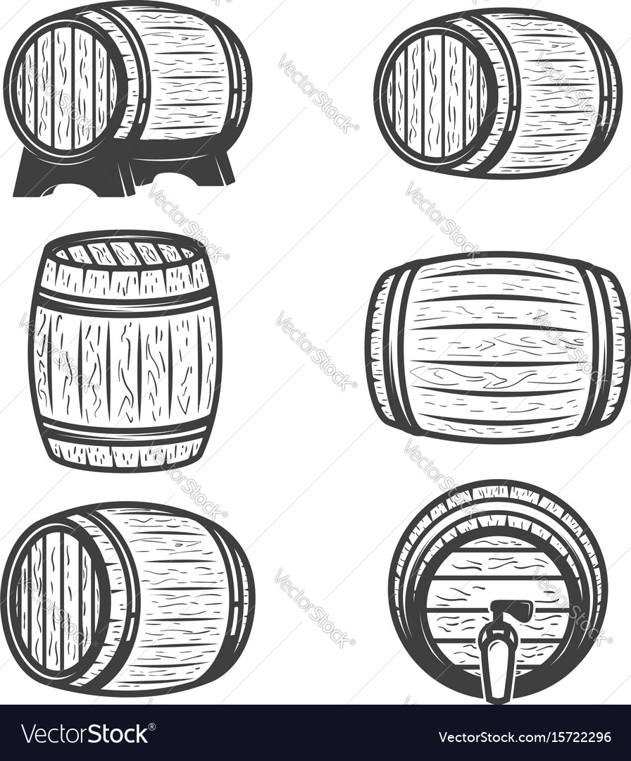 Set of beer barrels isolated on white background