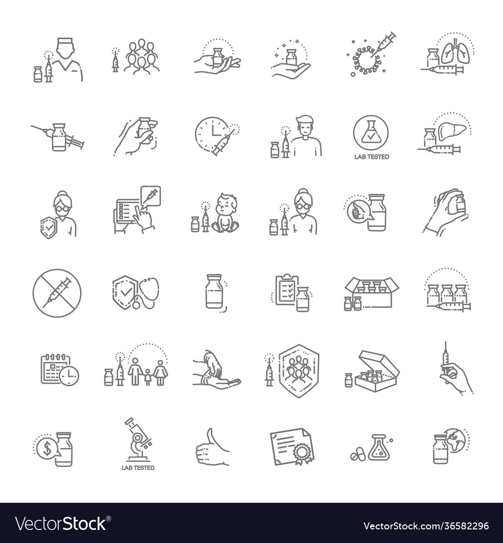 Vaccine and vaccination icons set
