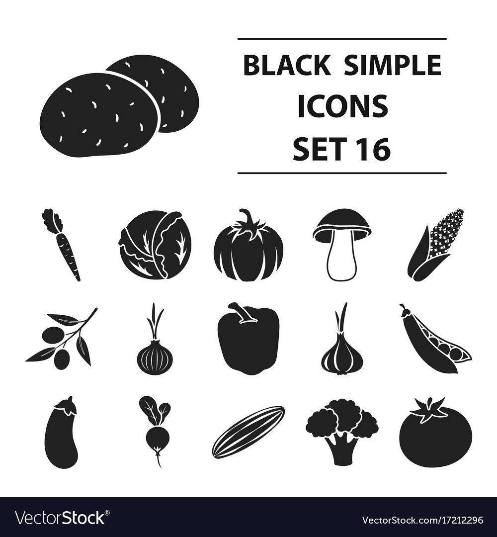 Vegetables set icons in black style big