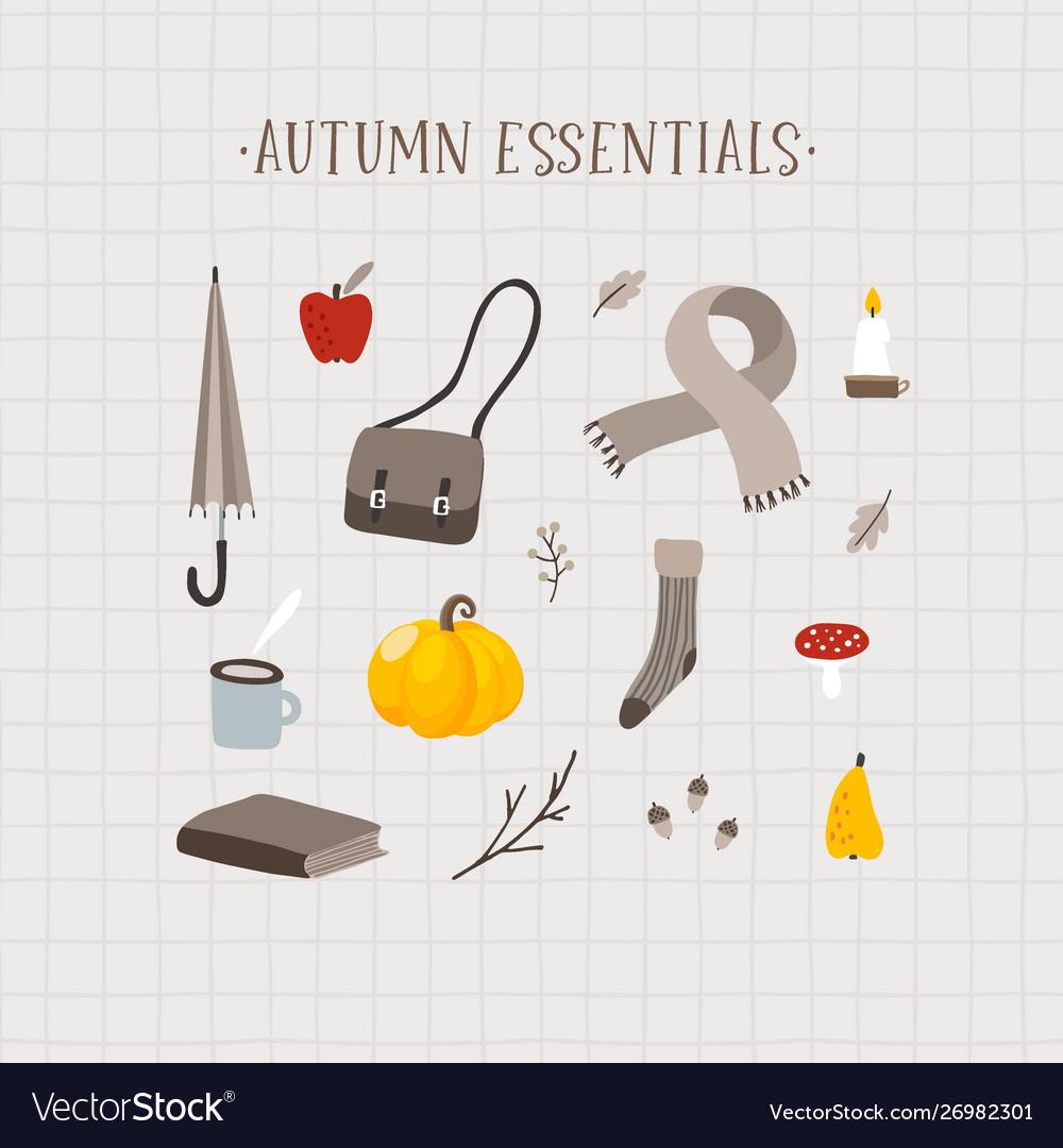 Autumn essentials set cute hand drawn fall