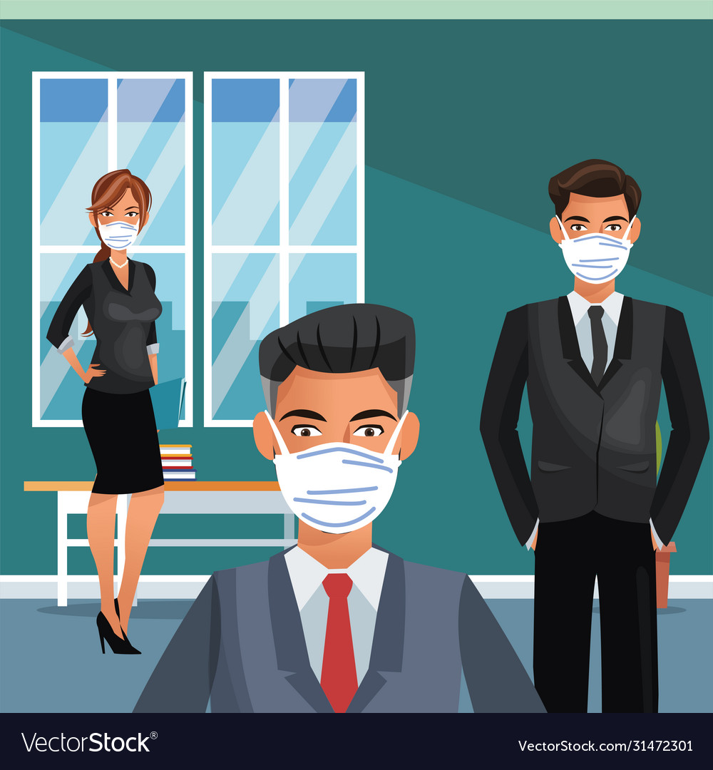 Business people working and wearing medical mask