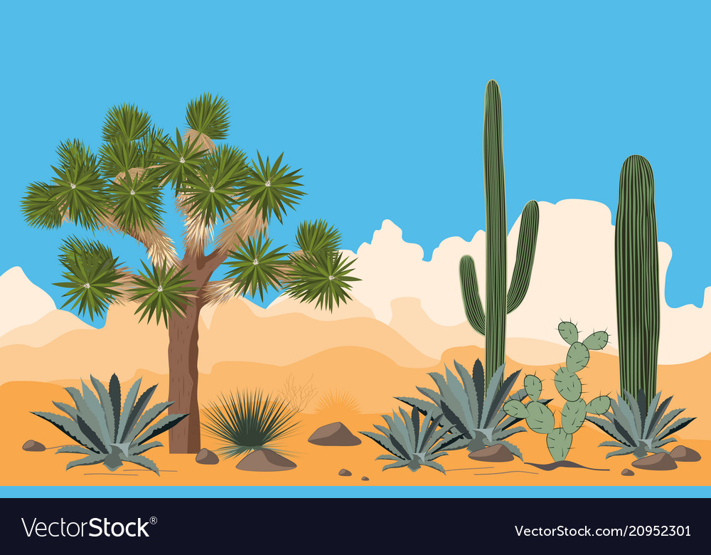 Desert Pattern With Joshua Trees Opuntia Vector Image The sofa on the window sill with the mountains desert view. vectorstock